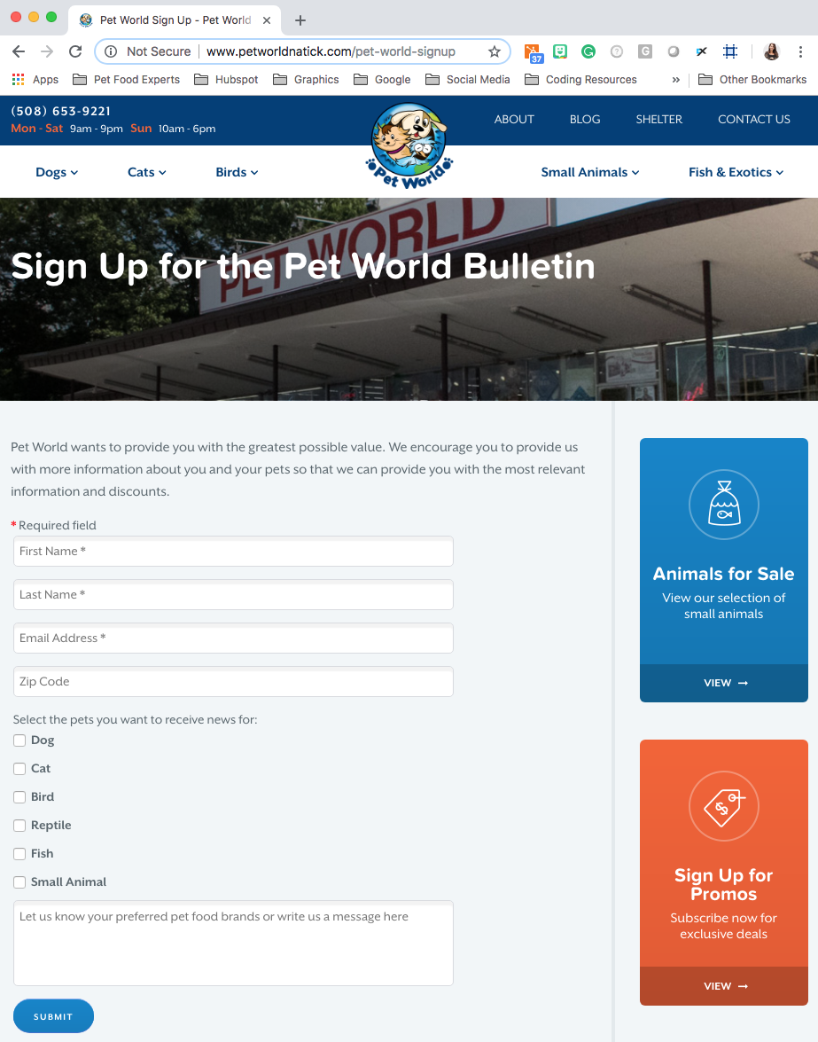 Pet World Website