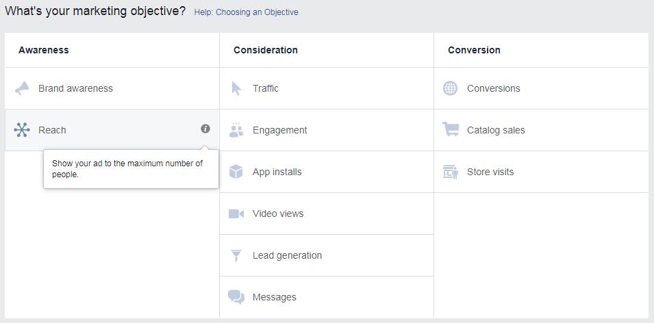 facebook marketing objectives