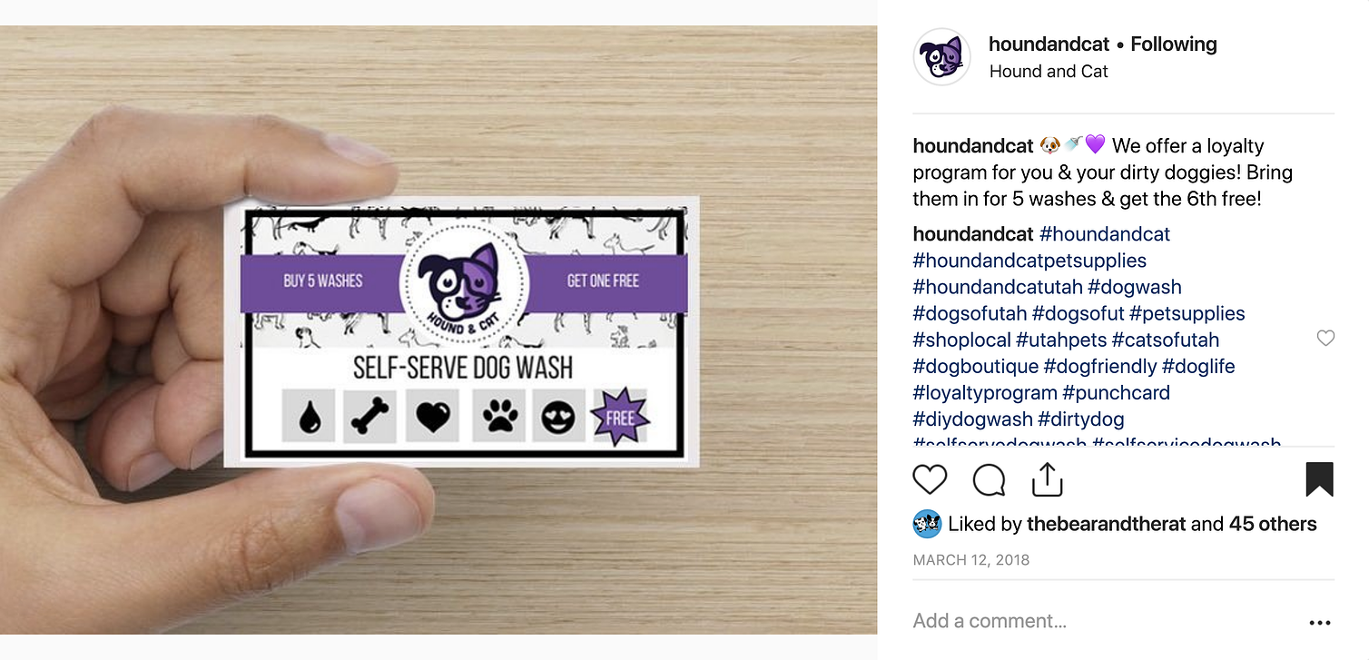 Hound and Cat - Self-Serve Dog Wash Loyalty Card