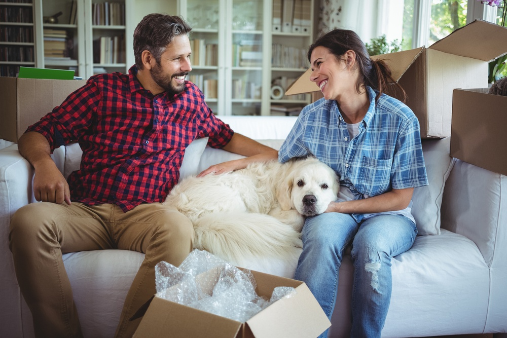 Couple sitting on sofa with their pet dog in their new house.jpeg