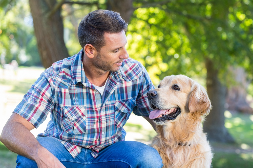 Happy man with his pet dog in park on a sunny day.jpeg